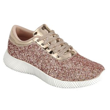 Women's Sparkling Glitter Lace Up Fashion Tennis Shoes