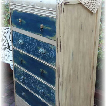 Antique Vintage Upcycled Repurposed tall waterfall style dresser, handpainted furniture, cottage chic, bohemian, distressed, country cottage