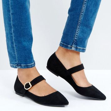 London Rebel Mary Jane Buckle Flat Shoe at asos.com