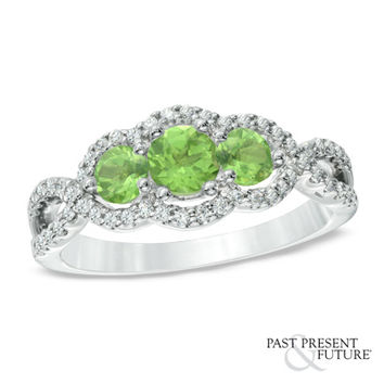 Peridot and 1/4 CT. T.W. Past Present Future® Engagement Ring in 10K White Gold