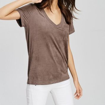 Faux Suede Pocket T-Shirt (Mocha)