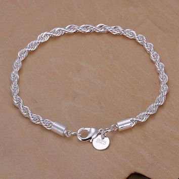 Free Shipping online shopping india 925 jewelry silver plated  Flash twisted rope men bracelet collier plastron SMTH207