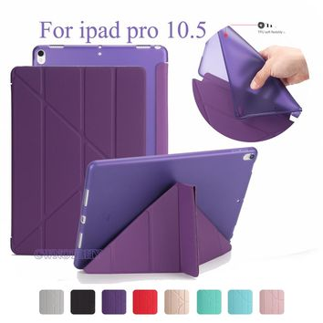 Good TPU Flexible Silicone Soft Back Cover For Apple Ipad Pro 10.5 2017 A1701 + Smart PU Leather Front Case Auto Sleep +Stylus