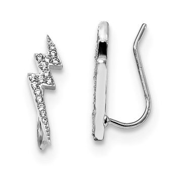 5 x 15mm Rhodium-Plated Sterling Silver CZ Lightning Bolt Ear Climbers