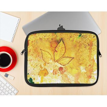 The Yellow Leaf-Imprinted Paint Splatter Ink-Fuzed NeoPrene MacBook Laptop Sleeve