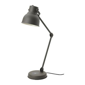 HEKTAR Work lamp with wireless charging Dark grey - IKEA