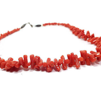 Vintage Red Coral Necklace 19 Inch Reddish Orange Beaded Beach Jewelry Summer Fashion