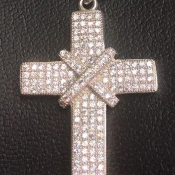 14K Gold Layer On Solid Silver Cubic Zirconia Cross Unisex Pendant Free Chain
