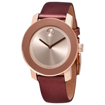 Movado Bold Carnation Gold Dial Ladies Leather Watch 3600457