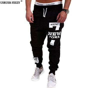 USRUER-YEEZY New Arrived Men's Brand Casual Joggers Letter Printing Compression Pants Men Cotton Trousers Calabasas Sweatpants