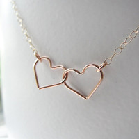 Rose gold heart outline necklace. Connected heart necklace