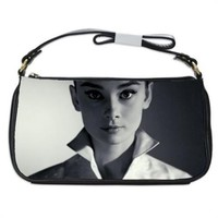 Audrey Hepburn In White Shirt Handbag Shoulder Bag Black Leather