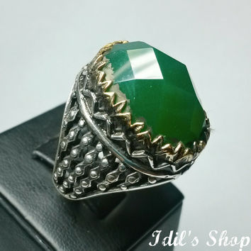 Authentic Turkish Ottoman Style Handmade 925 Sterling Silver Ring For Men With Emerald Stone.