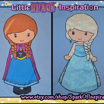 Fairytale Cuties Frozen - Elsa the Snow Queen & Anna Sisters Shirts Commission