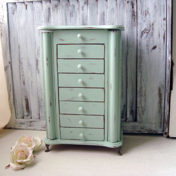 Tall Mint Jewelry Box, Shabby Chic Wooden Green Jewelry Holder, Large Jewelry Box, Gift Ideas