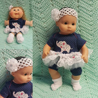 "Baby Doll Clothes ""Precious Pachyderm"" (15 inch) doll outfit Will fit Bitty Baby® Bitty Twins®  dress shorts socks headband  O7"