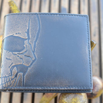 SKULL Embossed Leather Bifold Wallet