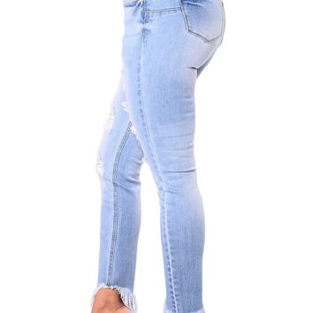 BLENCOT Women's Destroyed Ripped Distressed Skinny Jeans Casual Stretchy Denim Pants-Light Blue Large