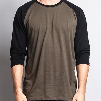 Men's Baseball T-Shirt TS900 (Olive/Black) - B12C
