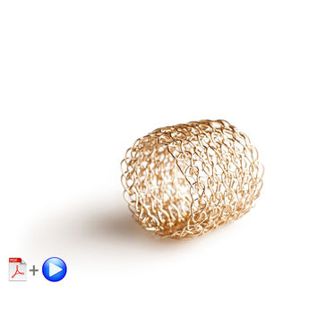 Wire crochet band ring VIDEO and PDF pattern - Learn how to crochet a ring