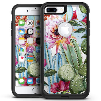 Vintage Watercolor Cactus Bloom - iPhone 7 or 7 Plus Commuter Case Skin Kit