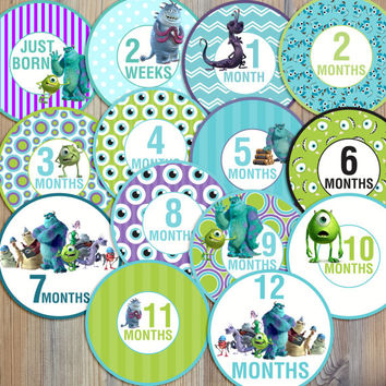14 Monsters Inc Sulley Mike Randy Boo Baby Boy Newborn Monthly Milestone Stickers