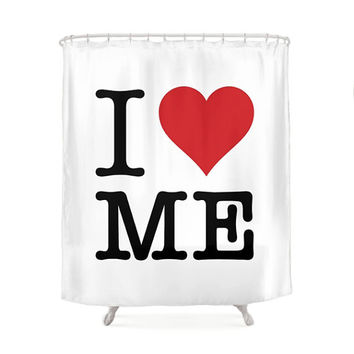 I Love Me Shower Curtains, 2 Colors, White & Black, Minimal Typography Design, Vintage Art, Funny Pop Art, Inspirational Quote, Fun Bathroom