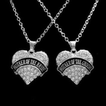 Crystal Mother Of The Bride Mother Of The Groom Wedding Gift Charm Necklace Set