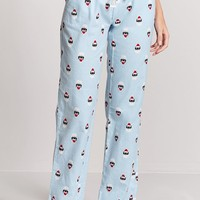 Santa Cat Print PJ Pants