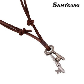 Punk Double Key Pendant Leather Necklaces for Men Long Chain Necklace Male Neckless Women Collier Femme Gift for Boys