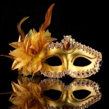 DKF4S Halloween Venice Half Face Lily Feather Mask Fancy Ball Party Princess Mask Masquerade Masks Female Ladies Big Flower Golden