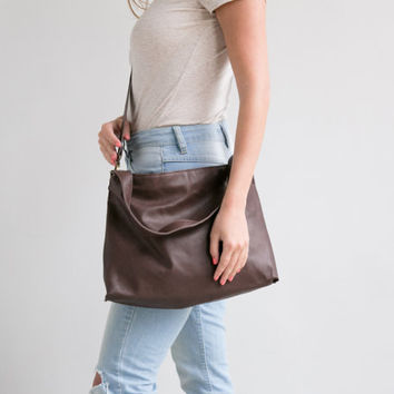 Brown Leather BackPack - Leather Tote Bag from Mayko Bags