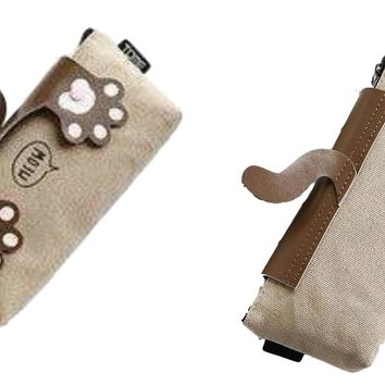 "Crazy Cats Paw ""Meow"" Dark Khaki Fabric Pencil Case Box"