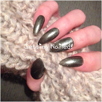 Hand painted grafite dark silver press on false nails **stick on nail* false nails * fake nails * handpainted nails * press on nails