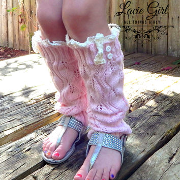 Little Girl Leaf Open knit Lace Leg Warmers