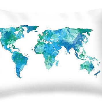 Watercolor Map Pillow Travel Gifts for Men World Map Art Pillow - Travel Nursery Decor Travel World Map Decor Map Art Globe Pillow