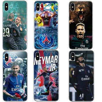 Football Star French Paris Saint Germain PSG Cover for iPhone 5 5S SE 6 6S Plus 7 8 Plus Neymar jr Hard Phone Cases For iPhone X