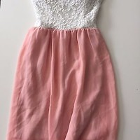 EUC Love Culture White Lace Pink Chiffon Strapless Summer Dress Size XS