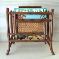 Bentwood Magazine Rack, Bamboo Record Holder, Tiki Bar Decor