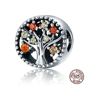 Genuine 925 Sterling Silver Tree of Life Fruitful Autumn Beads  Bracelets Charm