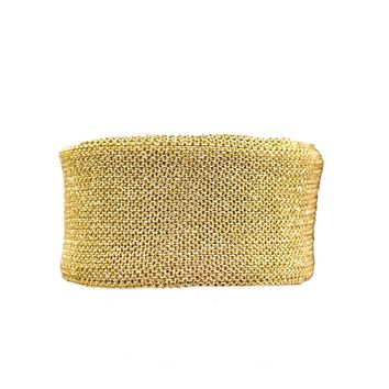 Wide Gold Plated Mesh Metal Bracelet by Adam & Martucci, New Old Stock