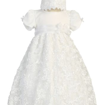 Satin Ribbon Floral Embroidery on White Tulle Christening Dress (Baby Girls Newborn - 18 months)