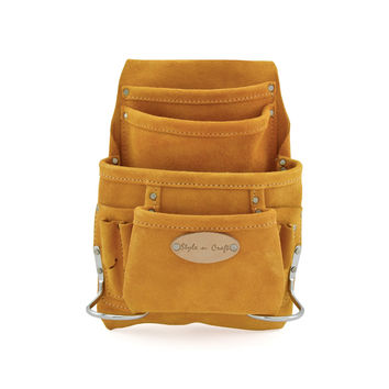 91923 - 10 Pocket Nail and Tool Pouch in Heavy Duty Suede Leather