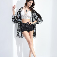 Gorgeous Lightweight Black with White Daisy Flowers Chiffon Floral Kimono Coverup