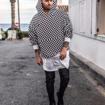 2017 TOP NEW Justin Bieber checkerboard lattice men Pullover Hoodies hiphop Fashion Casual black Sweatshirts M-XL