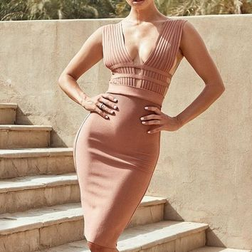 Freya Deep Plunge Midi Bandage Dress