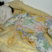Cloth baby doll with sleeping eyes, fabric baby doll, brown hair doll, sleeping fabric doll, soft sculpted doll, stuffed doll, handmade doll