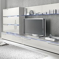 Liren White - Contemporary Wall Unit / European Entertainment Center / Design Furniture with LED Lights (White)