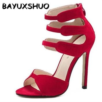 BAYUXSHUO Brand Gladiator High Heels Sandals Women Sexy Open Toe Cut Outs Shoes Zipper Wedding Party Stiletto Pumps Shoes Woman