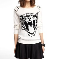 STUDDED TIGER INTARSIA SWEATER